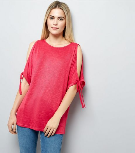 Deep Pink Cold Shoulder Top  | New Look