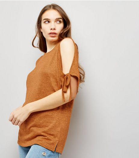 Orange Cold Shoulder Tie Sleeve Top | New Look