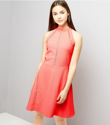 Teens Coral Ribbed Lattice Trim Skater Dress | New Look
