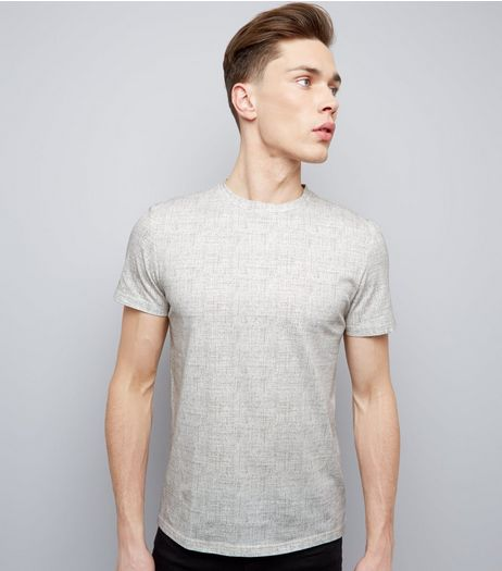 Stone Textured Print Crew Neck T-Shirt | New Look