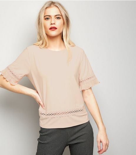 Shell Pink Crochet Trim Top | New Look
