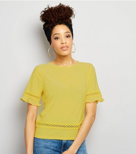Yellow Cut Out Trim Top  | New Look