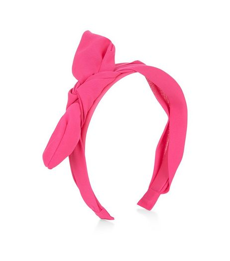 Bright Pink Chiffon Bow Front Hairband  | New Look