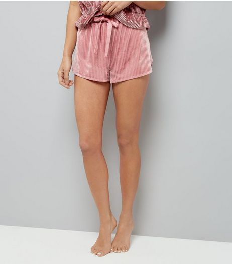 Deep Pink Velvet Ribbed Shorts | New Look