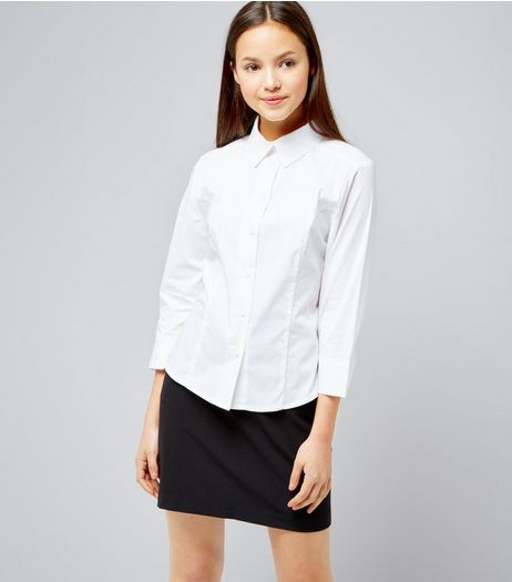 Teens White 3/4 Sleeve School Shirt | New Look