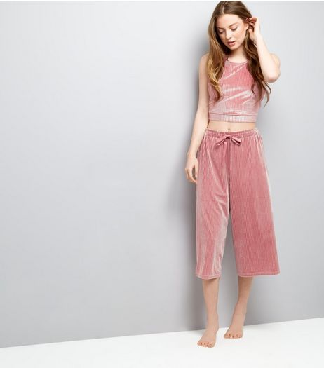 Deep Pink Velvet Ribbed Pyjama Culottes | New Look