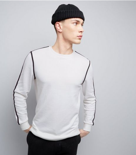 White Crew Neck Piped Sweater | New Look