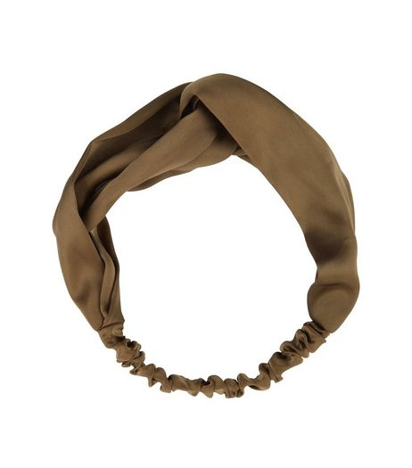 Khaki Sateen Twist Front Headband | New Look