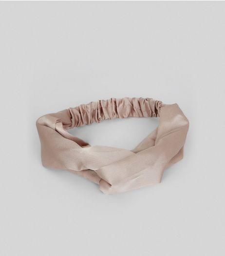 Pink Sateen Twist Front Headband | New Look