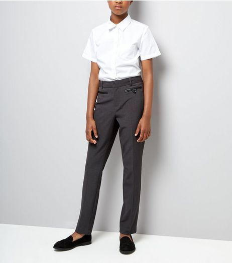 Teens Grey Pocket Trim Trousers | New Look