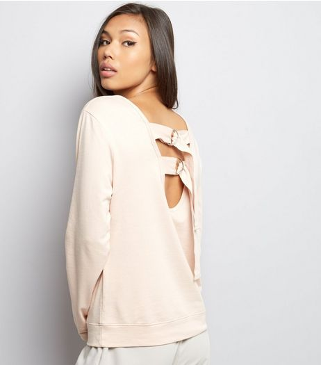Shell Pink Ring Back Long Sleeve Sweater  | New Look