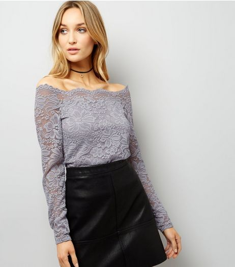 Pale Grey Scallop Hem Lace Bardot Neck Top  | New Look