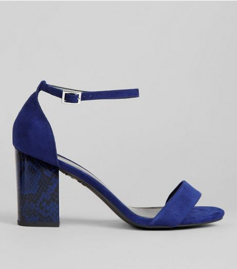 Wide Fit Blue Snakeskin Print Heeled Sandals | New Look
