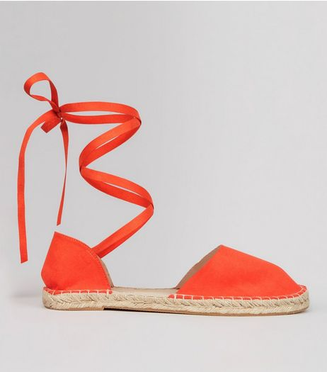 Wide Fit Orange Ankle Tie Espadrille Sandals | New Look
