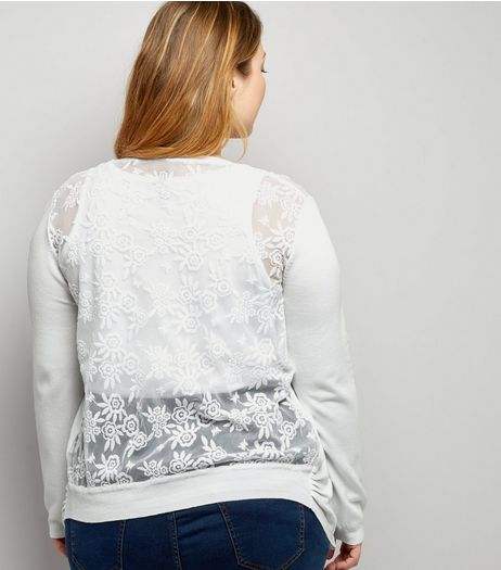 Curves White Lace Back Cardigan | New Look