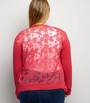 Curves Bright Pink Lace Back Cardigan
