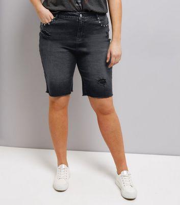 Curves Black Studded Denim Shorts