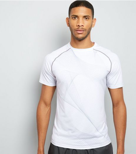 White Linear Print Short Sleeve Sports T-Shirt | New Look