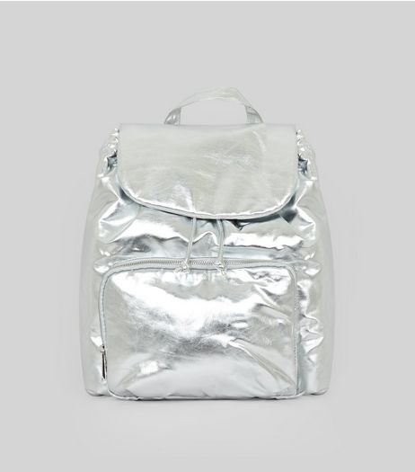 Silver Metallic Drawstring Backpack | New Look