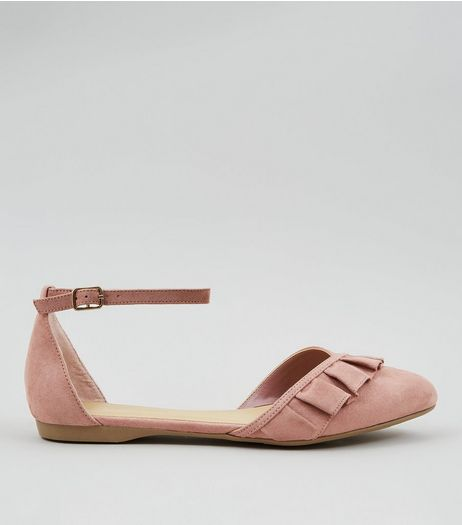 Wide Fit Pink Suedette Frill Trim Ankle Strap Flats | New Look