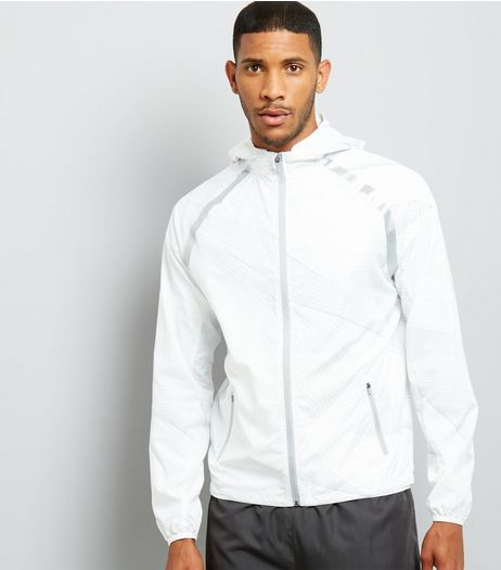 White Linear Print Hooded Sports Jacket | New Look
