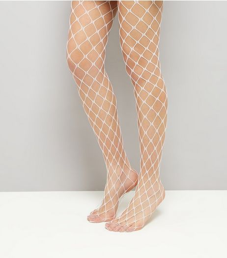 White Oversized Fishnet Tights | New Look