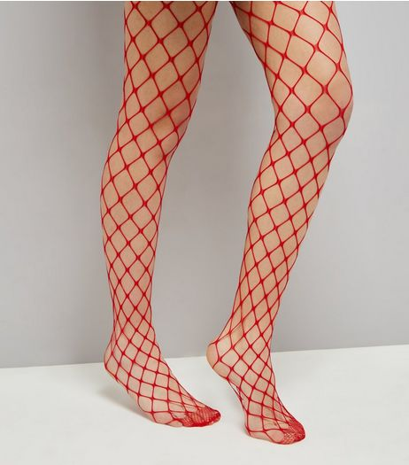 Red Oversized Fishnet Tights | New Look