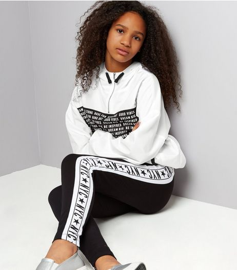 Teens White Slogan Half Zip Track Jacket | New Look