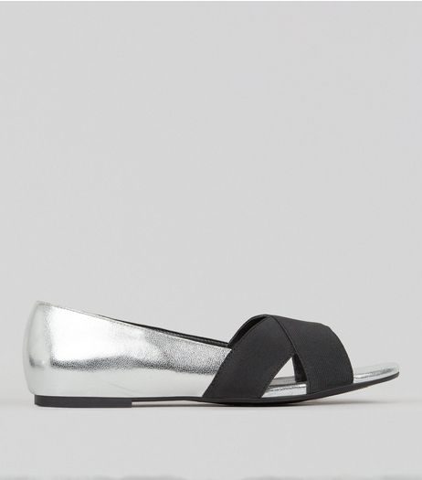 Wide Fit Silver Cross Front Open Toe Shoes  | New Look