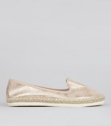 Wide Fit Rose Gold Espadrilles | New Look