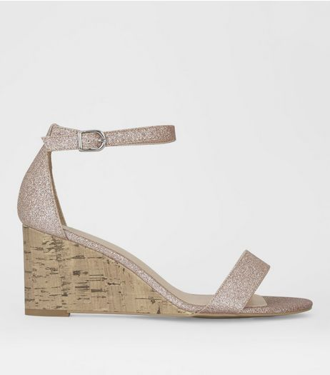 Wide Fit Rose Gold Metallic Ankle Strap Wedge Heels | New Look