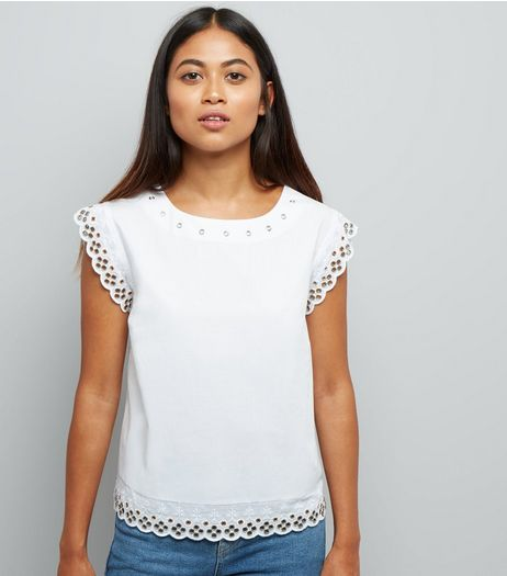 Petite White Eyelet Broderie Trim Top | New Look