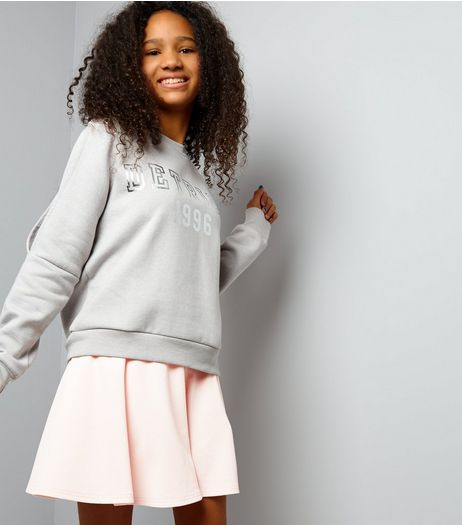 Teens Shell Pink Crepe Skater Skirt | New Look