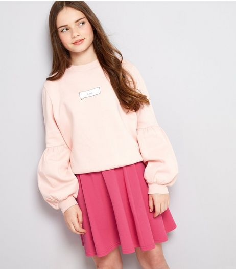Teens Bright Pink Crepe Skater Skirt | New Look