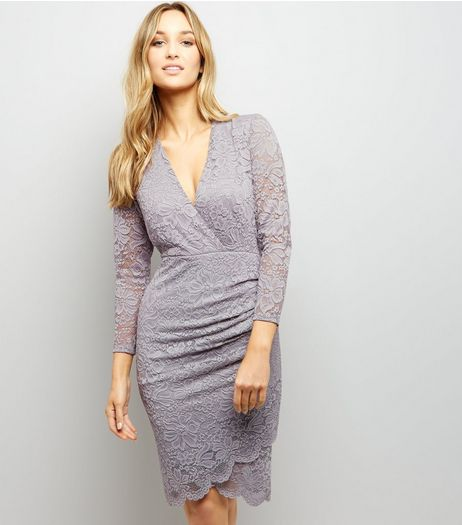 Grey Lace Wrap Front Long Sleeve Bodycon Dress | New Look