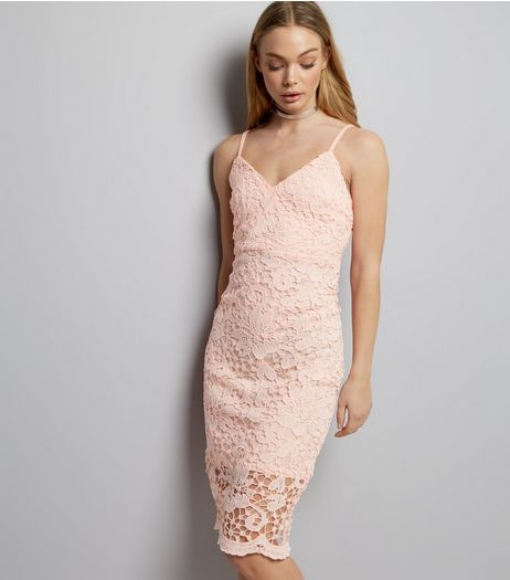 AX Paris Pink Crochet Lace Midi Dress | New Look