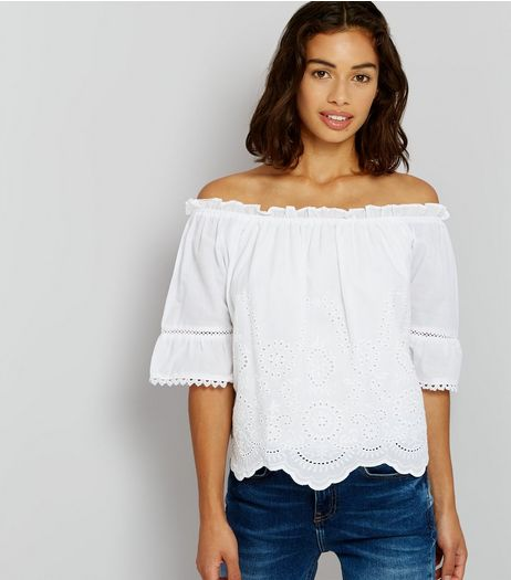 Petite White Cut Out Detail Bardot Neck Top | New Look