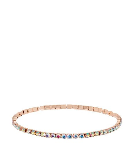 Gold Iridescent Stone Stretch Anklet | New Look