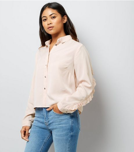Petite Shell Pink Frill Trim Shirt | New Look