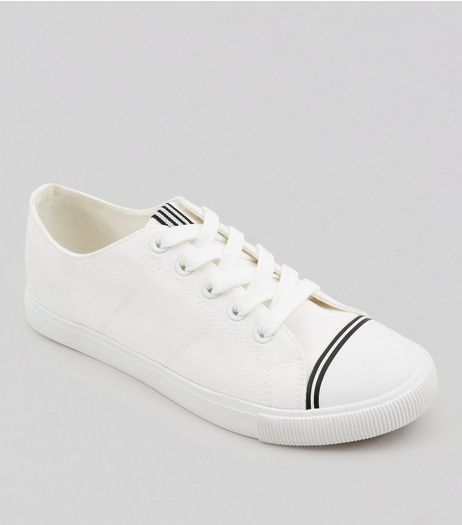 White Canvas Stripe Detail Trainers | New Look
