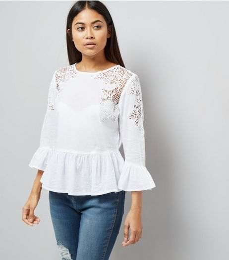 Petite White Cut Out Lace Frill Trim Top | New Look