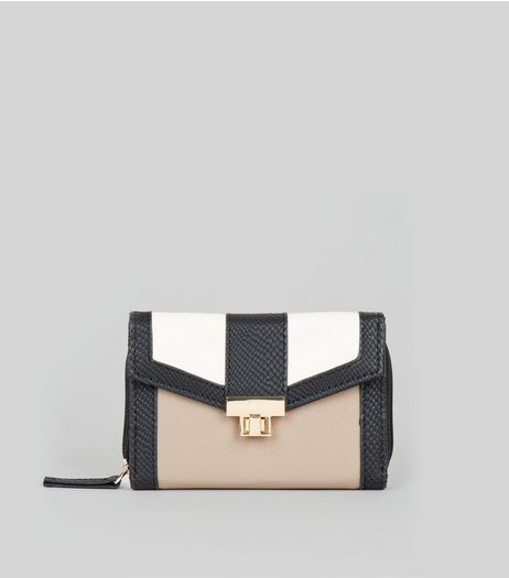 Stone Colour Block Textured Fold Over Purse | New Look