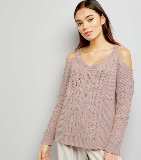 Shell Pink Cold Shoulder Cable Knit Jumpers | New Look