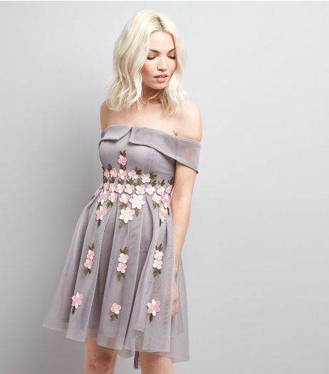 Petite Grey Mesh Floral Applique Bardot Neck Dress | New Look