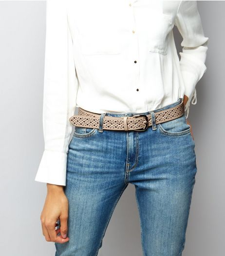 Pink Metallic Laser Cut Belt | New Look