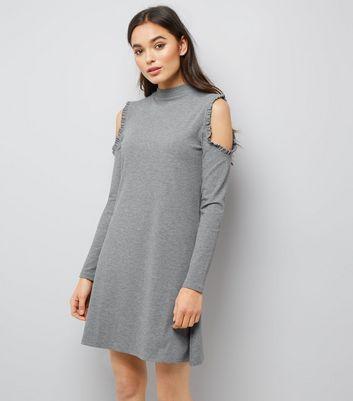 Grey Frill Trim Cold Shoulder Long Sleeve Swing Dress