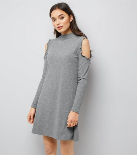 Grey Frill Trim Cold Shoulder Long Sleeve Swing Dress  | New Look