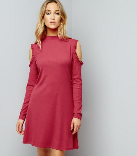 Pink Funnel Neck Cold Shoulder Swing Dress | New Look