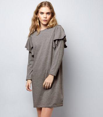 Grey Frill Trim Sweater Dress