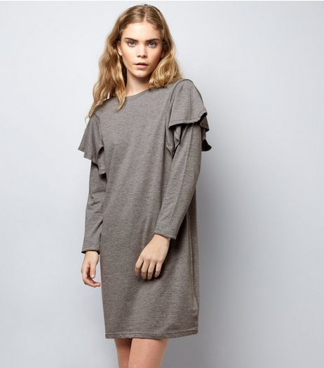 Grey Frill Trim Sweater Dress | New Look